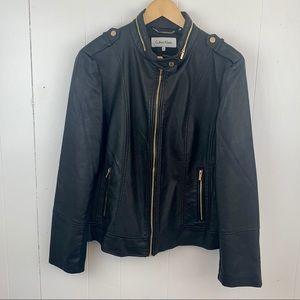 CALVIN KLEIN Black Faux Leather Moto Jacket XL
